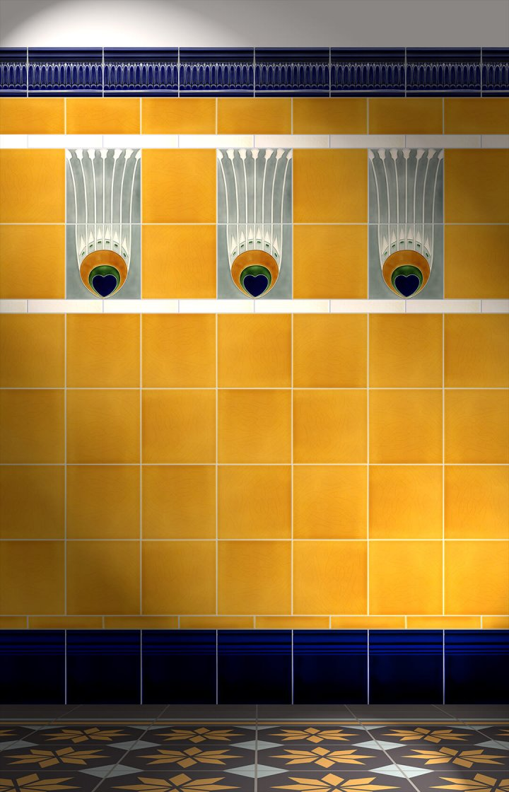 Wall tiles Tiles decorated Verlegebeispiel F 19a V2