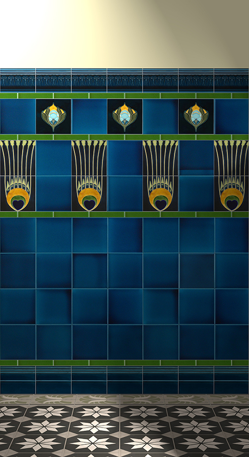 Wall tiles Tiles decorated Verlegebeispiel F 19a V1