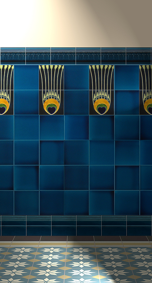 Wall tiles Tiles decorated Verlegebeispiel F 19b V1