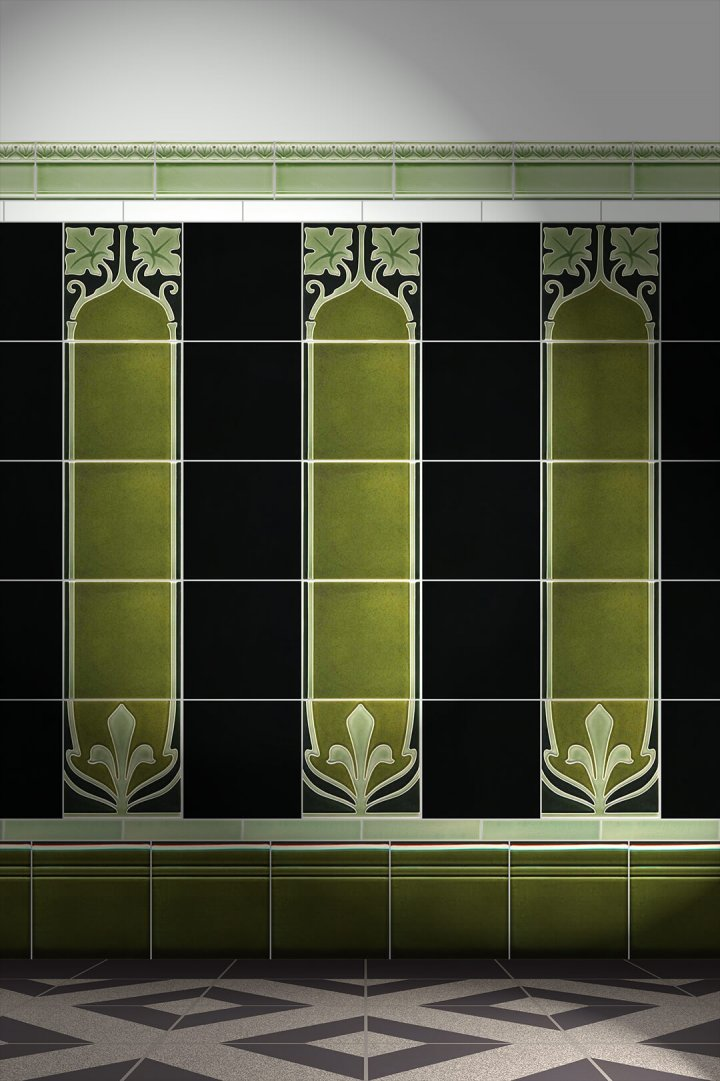 Wall tiles Tiles decorated Verlegebeispiel F 28a