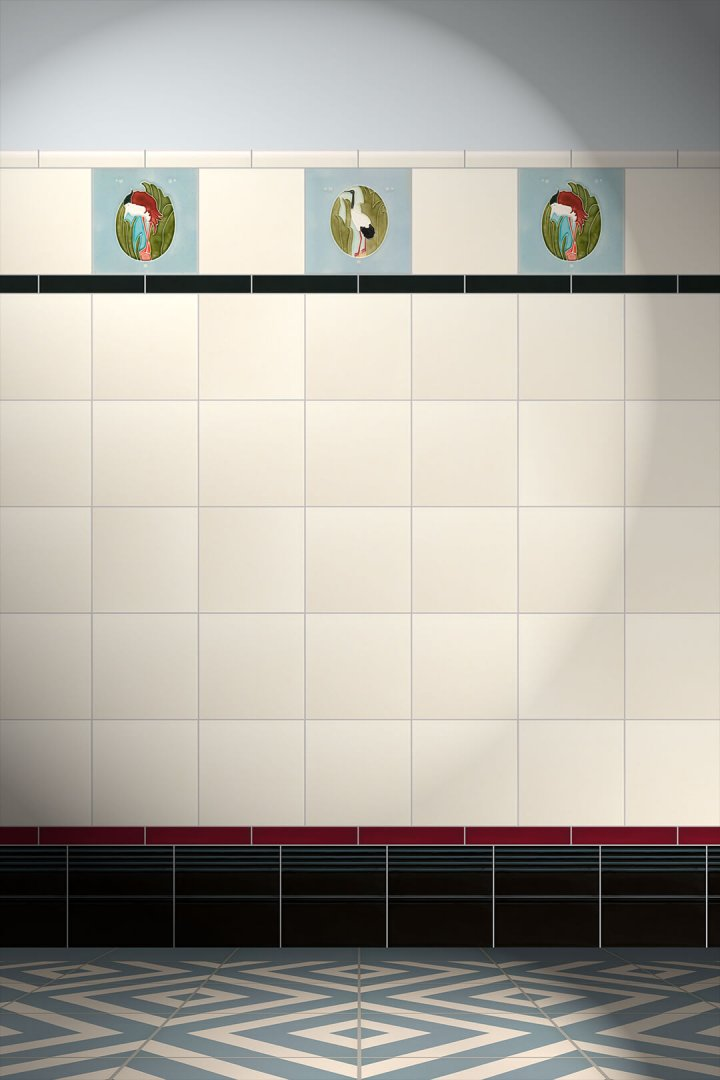 Wall tiles Tiles decorated Verlegebeispiel F 47c