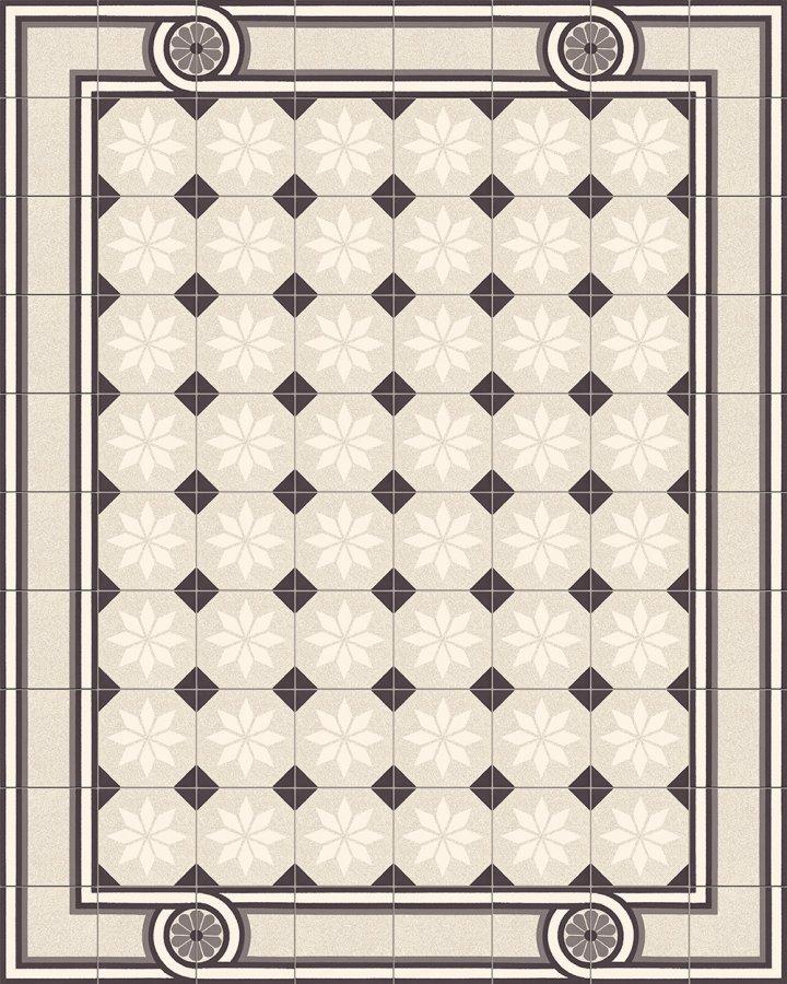 Fliesenteppich-schwarz-weiß-SF 505 M + SF 504 M3 +  SF 308 M