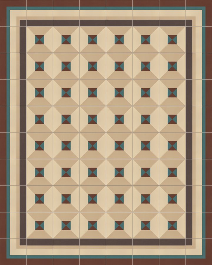 Geometrically nested square motif in beige, brown and green as a historical pattern. Timeless floor tile SF402B in porcelain stoneware.