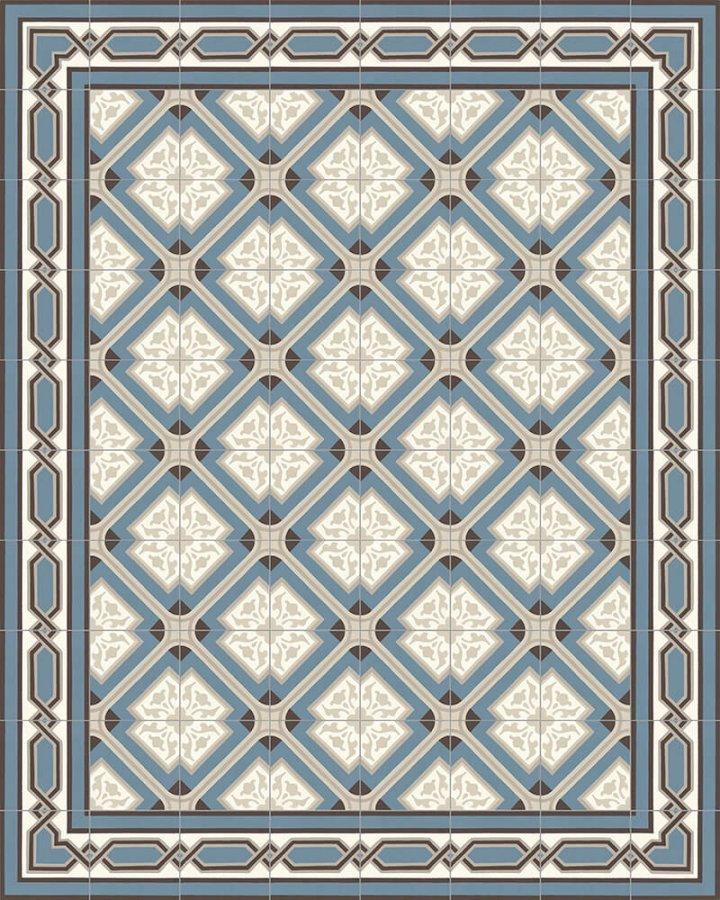 Ornament Feinsteinzeug: die historische Steinzeugfliese SF 556 A als Verlegemuster mit den Steinzeugfliesen SF 557 A + SF 557 A e, Format: 17 x 17cm, Farben blau, grau und beige