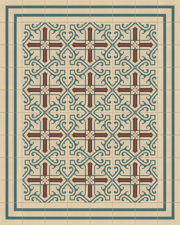 Light beige and petrol green stoneware tile with a geometric Art Deco motif as edge tile SFTG8202B