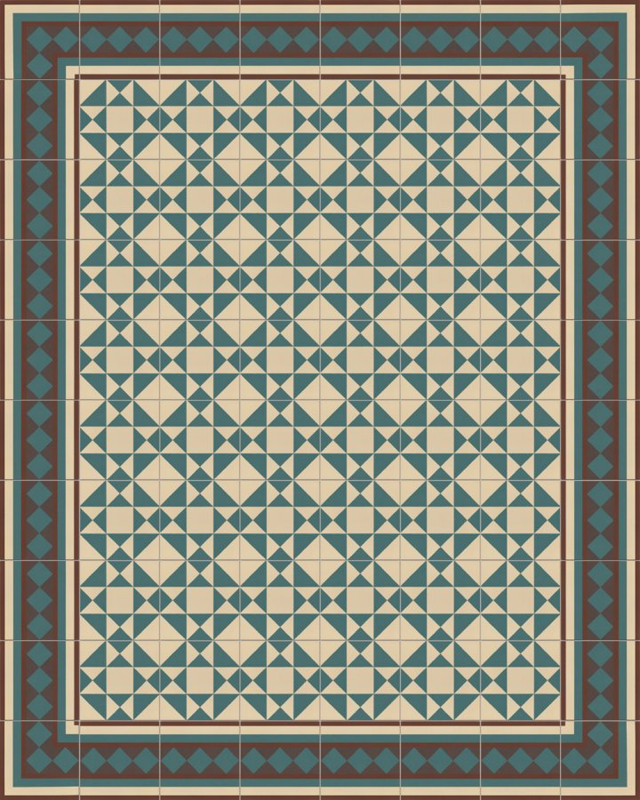 Light beige and petrol green stoneware tile with a geometric Art Deco motif as an installation example SF229B. Modern floor tile in dark or light colors.