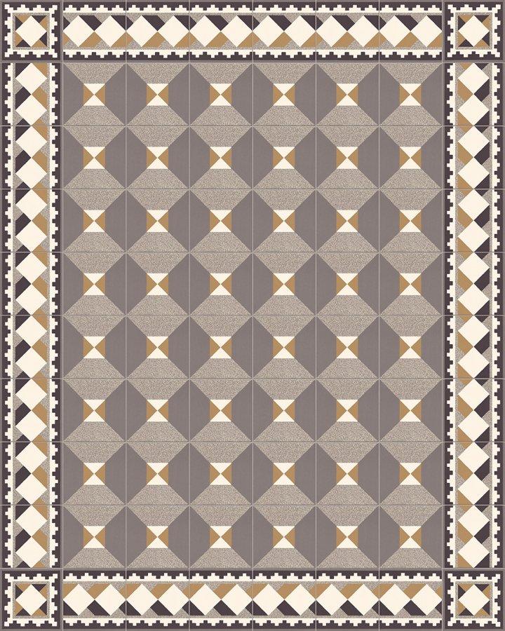 Motif en grès historique Motif cube SF503C dans les tons blanc crème, noir brique, beige et gris comme tuile de bordure avec SF402C