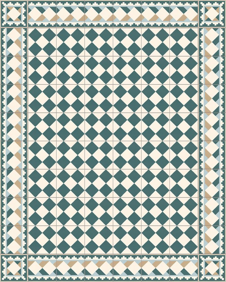 Historical stoneware pattern SF503G cube motif in cream white, petrol green, blue and beige as edge tile with SF218G