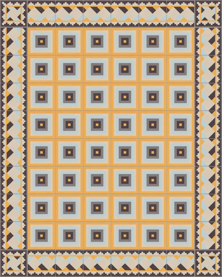 Historical stoneware sample SF503H cube motif in brick black, gray, yellow and blue as edge tile with SFTG11504H