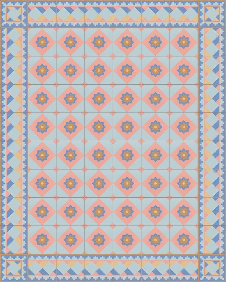 Historisches Feinsteinzeugmuster SF503N Würfelmotiv in als blau, gelb, beige und rosa Randfliese mit SF560N