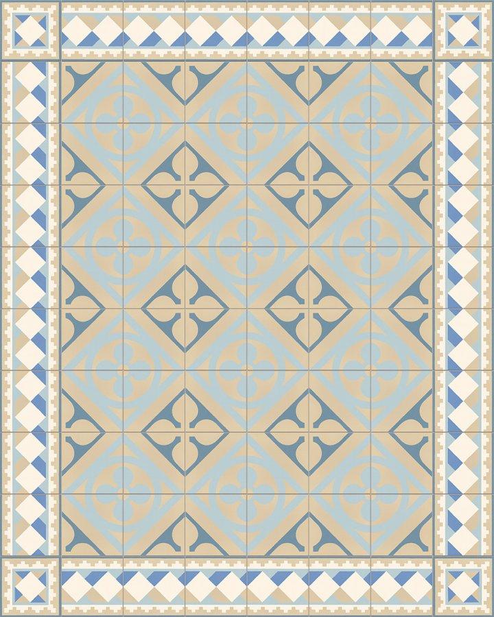Historisches Feinsteinzeugmuster SF503O Würfelmotiv in als cremeweiß, hellbeige und blau Randfliese mit SF327O