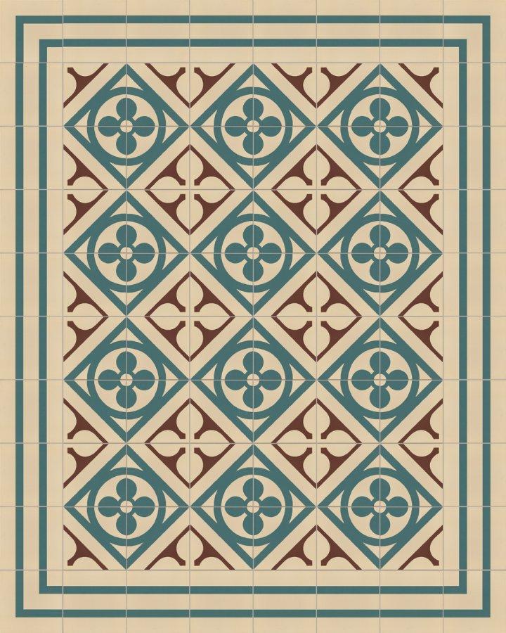 Historical ornament motif SF 327 B. In beige brown green inlaid floral art nouveau 17x17.