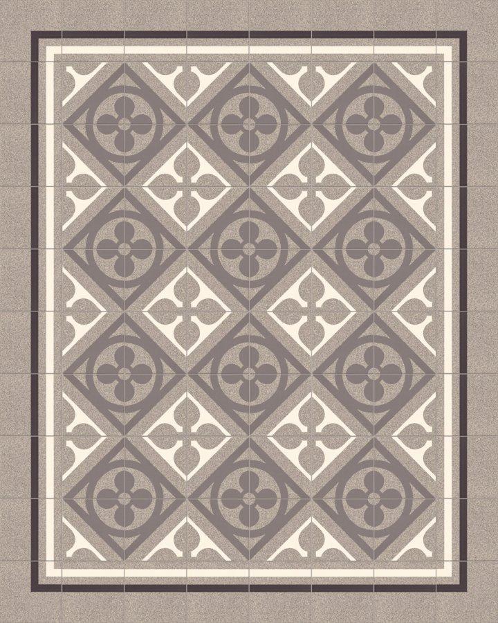 Historisches Ornamentmotiv SF 327 C. In grau und weiß intarsiert floral jugendstil 17x17.