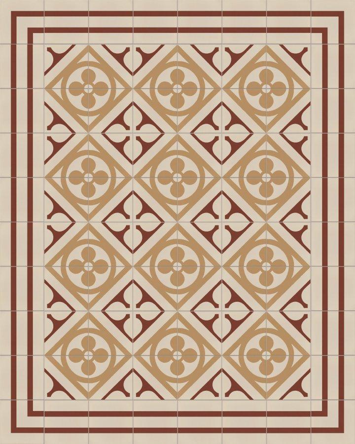 Historisches Ornamentmotiv SF 327 D. In rot,beige und grau intarsiert floral jugendstil 17x17.