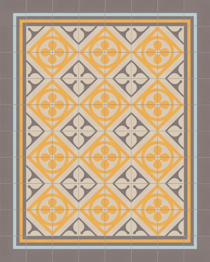 Historisches Ornamentmotiv SF 327H. In gelb, grau und beige intarsiert floral jugendstil 17x17.