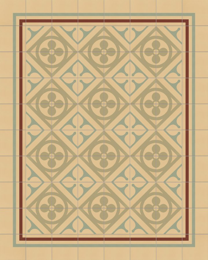 Historical ornament motif SF 327I. In beige and green tones inlaid floral art nouveau 17x17.