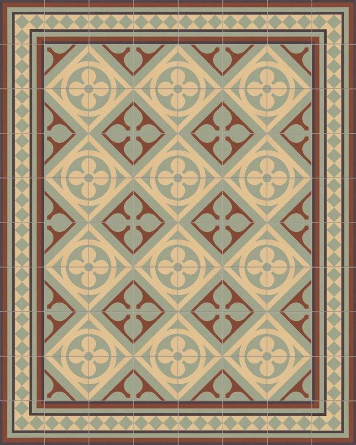 Historisches Ornamentmotiv SF 327J. In beige, braun und grün Töne intarsiert floral jugendstil 17x17.