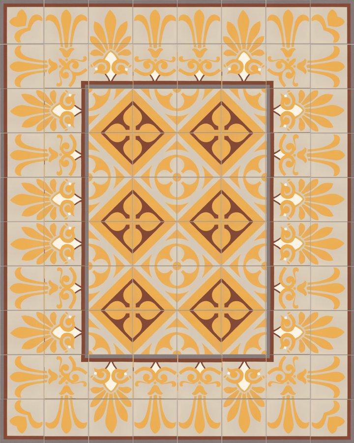 Historisches Ornamentmotiv SF 327K. In gelb, rot und beige intarsiert floral jugendstil 17x17.