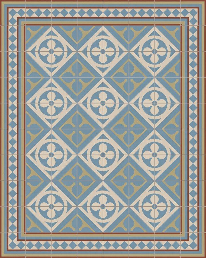 Historisches Ornamentmotiv SF 327L. In blau, beige und grün Töne intarsiert floral jugendstil 17x17.