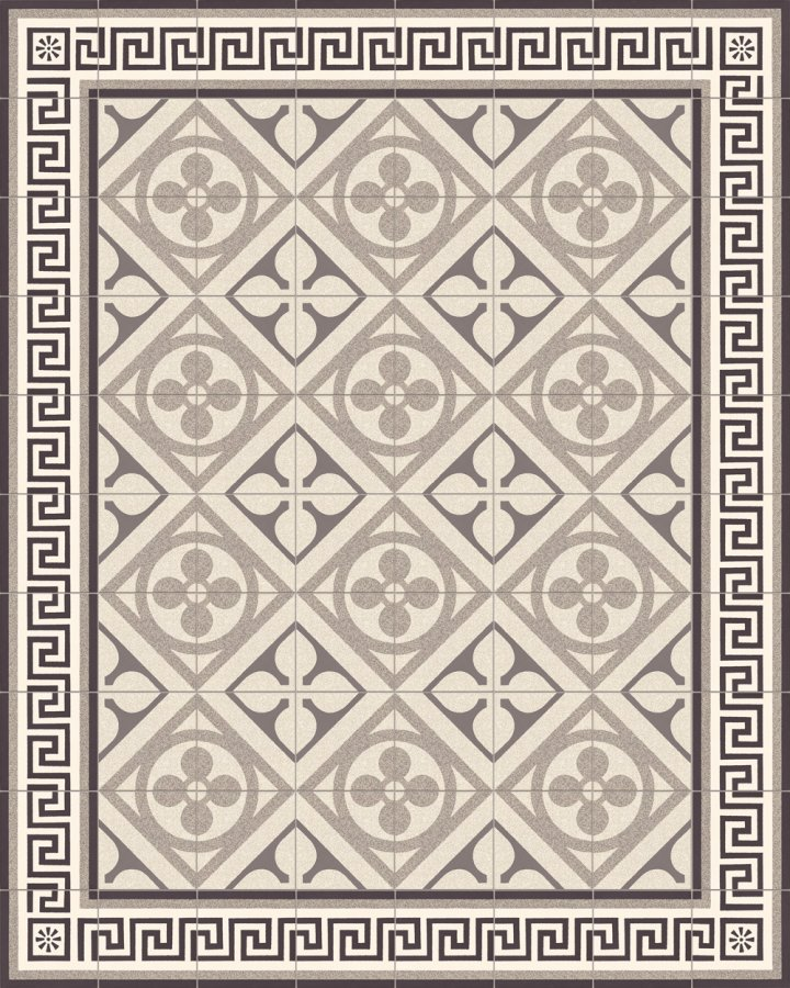 Historical ornament motif SF 327M. In light and dark gray tones, inlaid floral art nouveau 17x17.