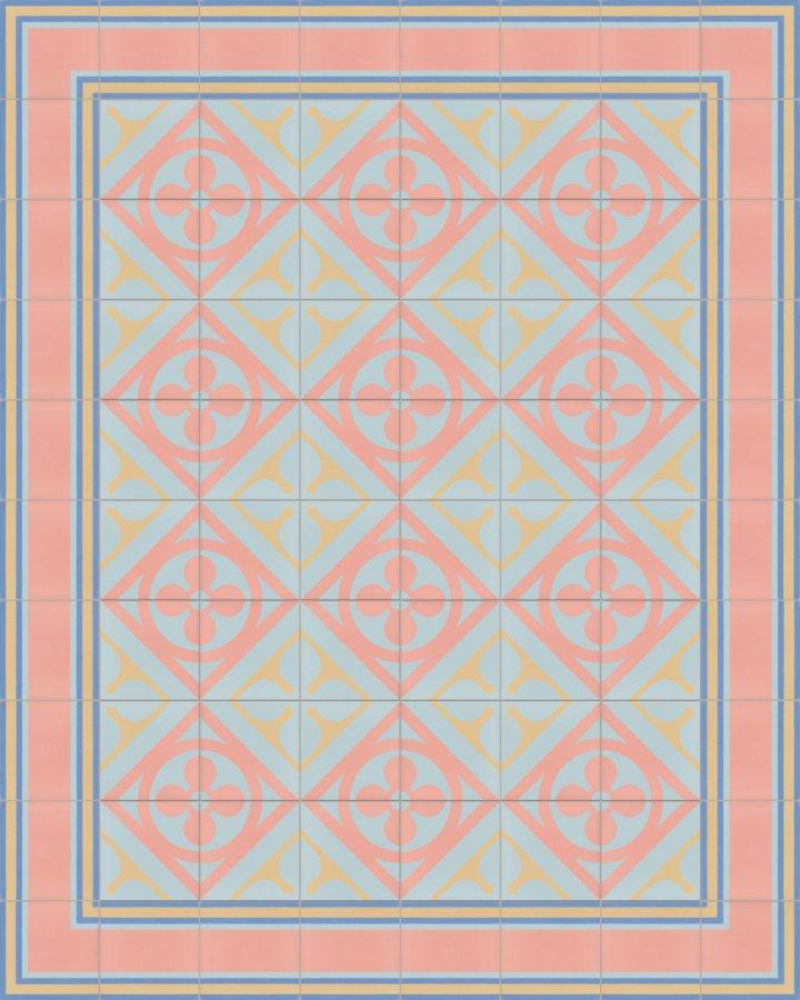 Historisches Ornamentmotiv SF 327N. In blau rosa intarsiert floral jugendstil 17x17.