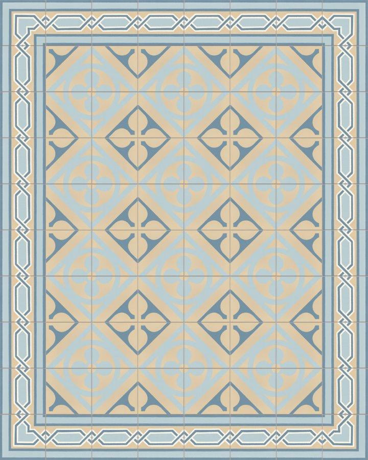 Historisches Ornamentmotiv SF 327O. In beige und blaue Töne intarsiert floral jugendstil 17x17.