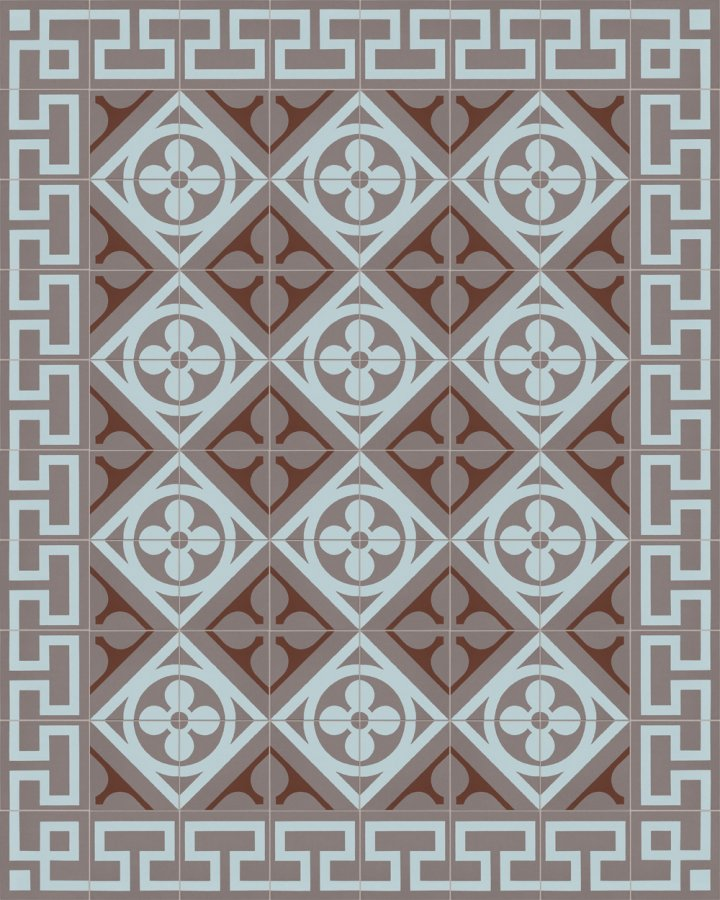 Historical ornament motif SF 327R. In gray, brown and blue inlaid floral art nouveau 17x17.