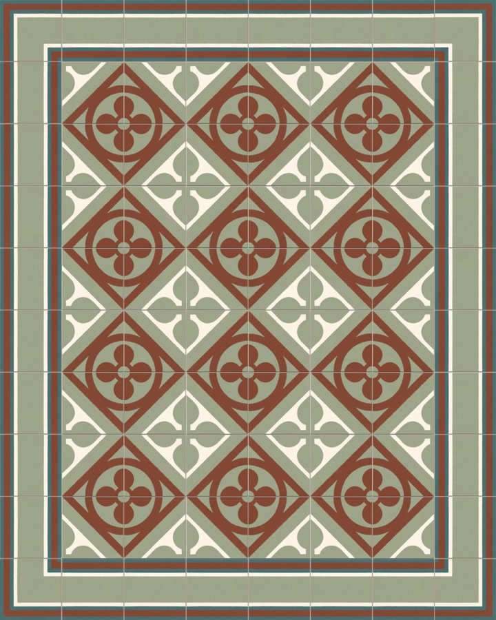 Historisches Ornamentmotiv SF 327S. In braun, weiß und grün Töne intarsiert floral jugendstil 17x17.