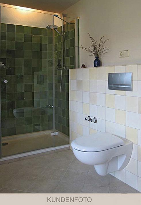 Verlegebeispiel Dusche in Grüntönen