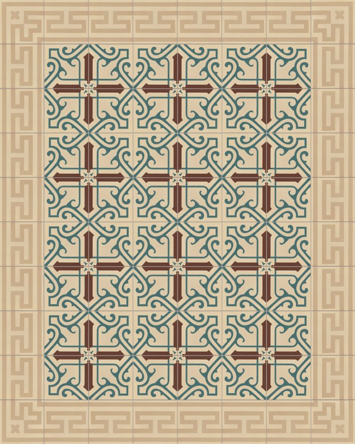 Meander ornament floor tile SF206B with an antique pattern as an edge tile. Inlaid stoneware motif in light beige and dark beige.
