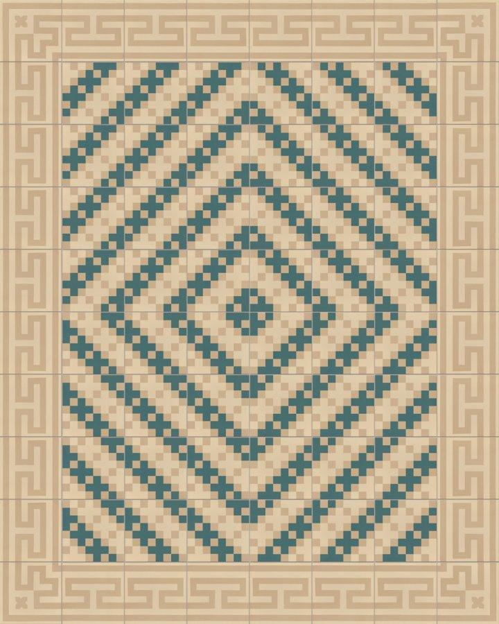 Mäander Ornament Bodenfliese SF206B mit antikem Muster als Randfliese. Intarsiertes Steinzeugmotiv in hellbeige und dunkelbeige.