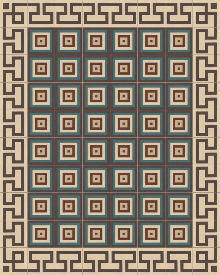 Mäander Ornament Randfliese mit antikem Muster SF254B. Intarsiertes Steinzeugmotiv in hellbeige und schwarzgrau + SF TG 11504 B