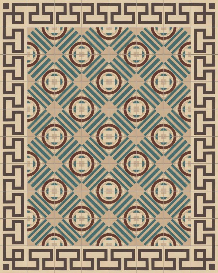Mäander Ornament Randfliese mit antikem Muster SF254B. Intarsiertes Steinzeugmotiv in hellbeige und schwarzgrau + 410B