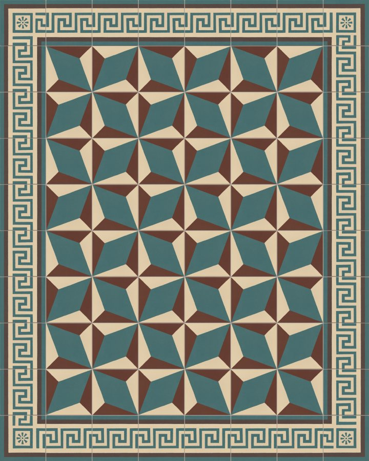 Meander edge tile in light beige, brown and petrol green. Historical stoneware sample SF357B