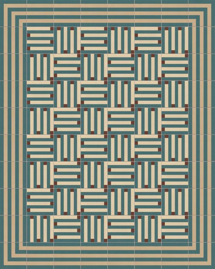 Modern pixel art motif in beige, brown and petrol-green stripes. Floor tile SFTG8301 made of porcelain stoneware with 7202