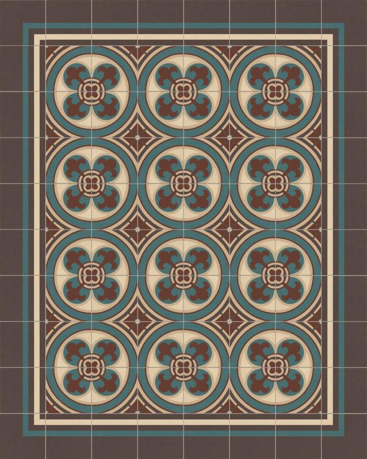 Bodenfliesen Verlegebeispiel mit historischem Motiv in in beige,braun und gruen. Ornamentfliese SF550B in 17x17cm Feinsteinzeug.