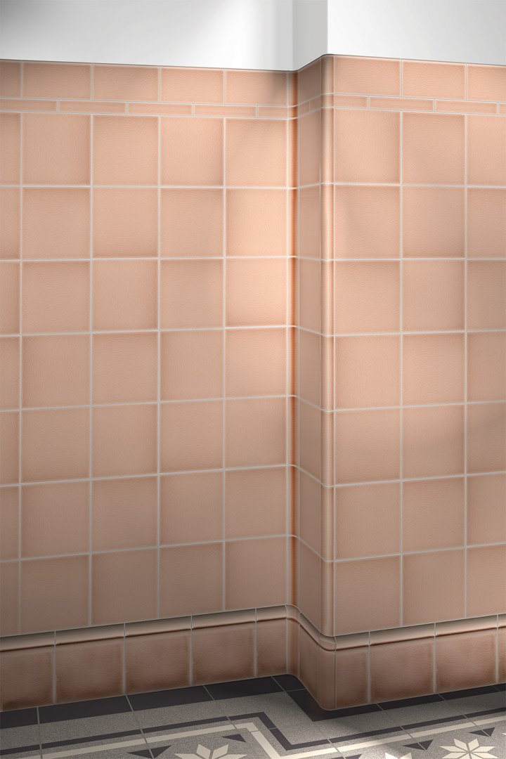 Glazed wall tiles: Plain pastel old pink F10.2 in 15x15cm, laid around the corner.