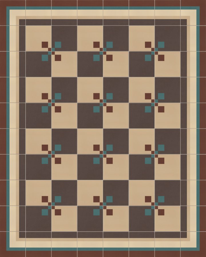 Edge tile with a striped pattern in beige, brown and green. Modern stoneware tile SFTG8505 format 17 x 17 cm.