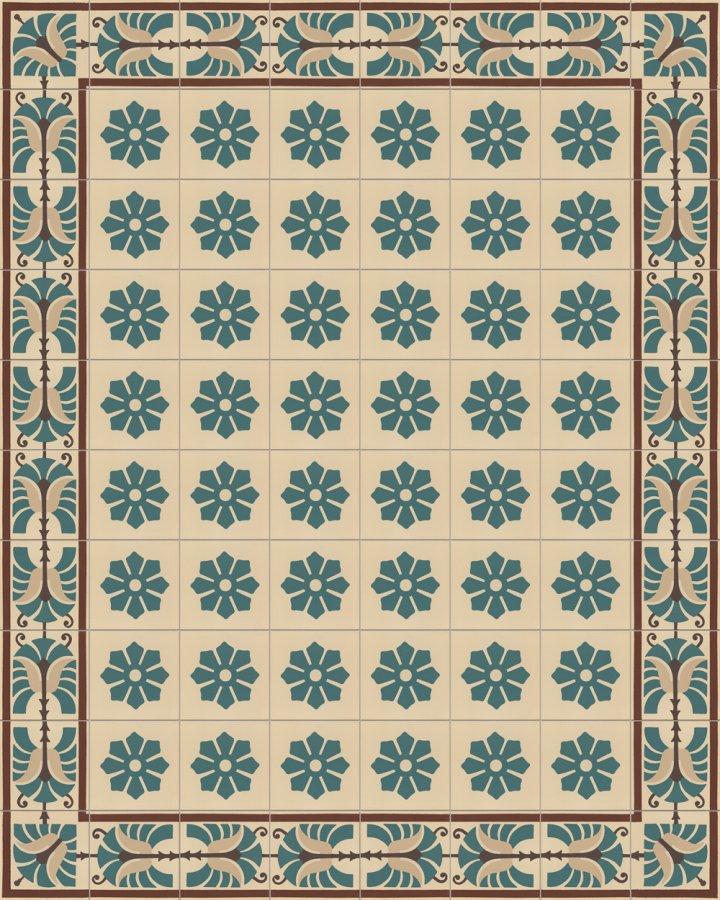Randfliese SF 562B mit floralem Ornamentmotiv in beige,braun und gruen. Steinzeug Format 17 x 17 cm.