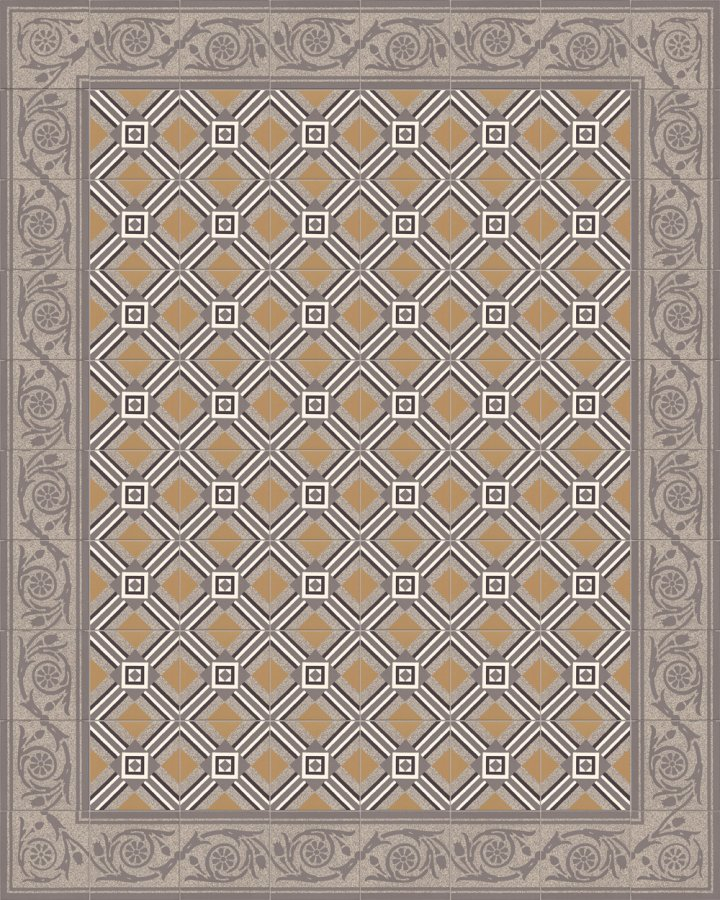 Edge tiles with floral motifs in dark gray and porphyry in light gray-dark gray. Historical, subtle stoneware pattern SF208C.