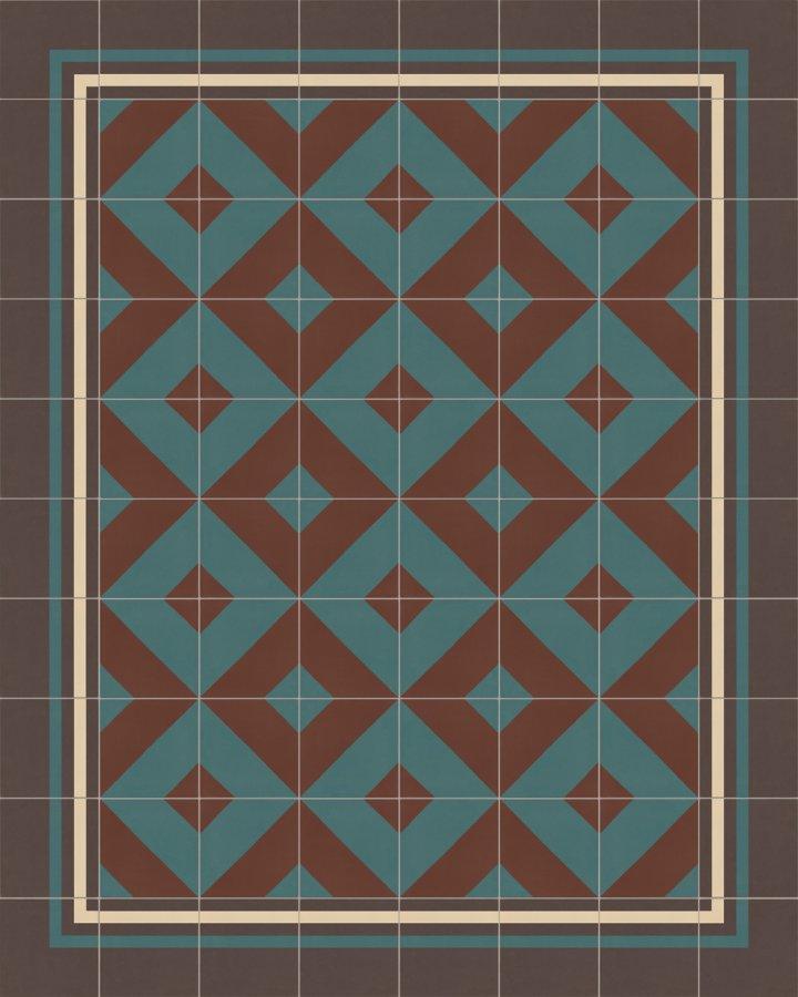 Rautenmotiv in ziegelbraun und petrolgruen. Bodenfliese auf Feinsteinzeug mit modernem Muster. Verlegebeispiel SF209B.