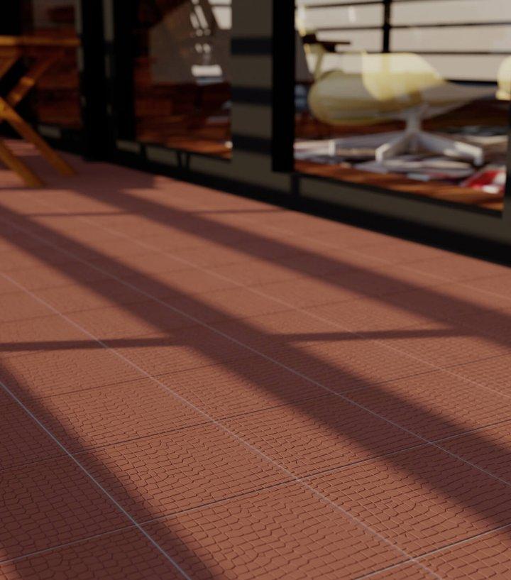 ziegelrote-Bodenfliese mit Reliefdekor-SF11.10