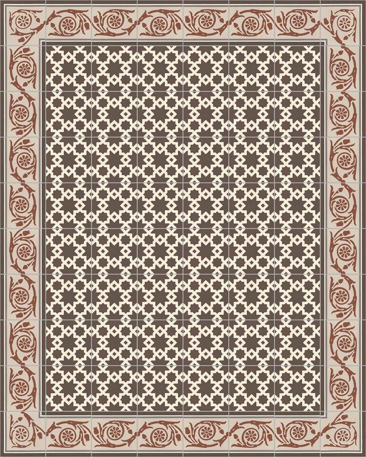 Keramische Bodenfliese mit kontrastreichem persischem Ornament.