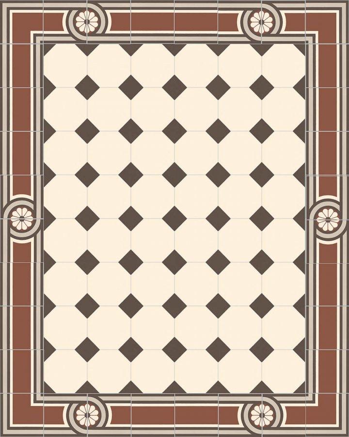 Achteckfliese in cremeweiß. Klassische Kombination mit entsprechendem Einleger in schwarz/weiß. Zeitloser Muster, das sich bis zurück in die römische Antike finden lässt.