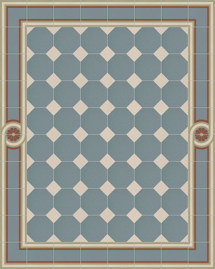 Floor tiles Stoneware octagonal Verlegebeispiel SF 80A.13 S