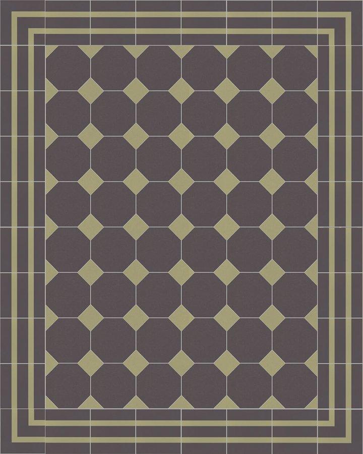 Achteck-Fliese. Kombination aus beliebten, anthrazitfarbenen Octogonal-Bodenplatten mit gründerzeitlichem Motiv als äußerst strapazierfähige Fliese. Schwarzbraune, moderne Adaption des Klassikers.