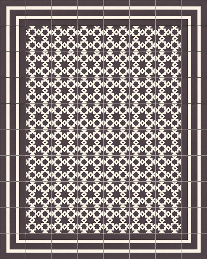 Steinzeugfliese mit marokkanischem bzw. orientalischem Muster in schwarz-weiß. Verlegebeispiel.