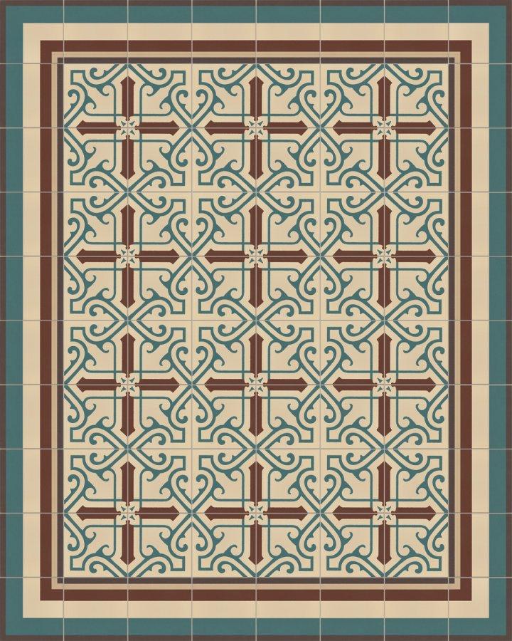 Steinzeugfliese mit geometrischem Art Decó Motiv als Randfliese SFTG11503B. Moderne Bodenfliese in beige,braun und gruen.