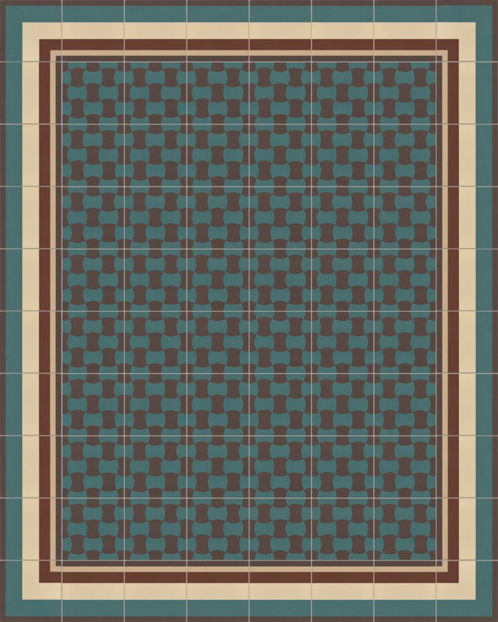 Stoneware tile with a classic double ax motif in brick brown and petrol green. Laying example SF259B