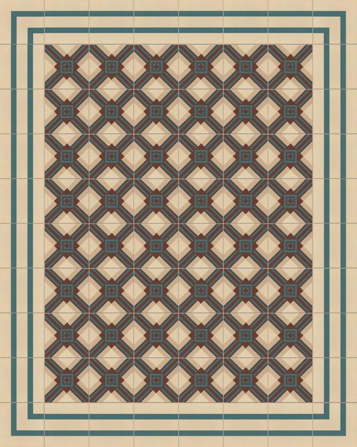 Steinzeugfliese SF559B in beige,braun und gruen intarsiert. Verlegebeispiel mit geometrischem Motiv der Gründerzeit.